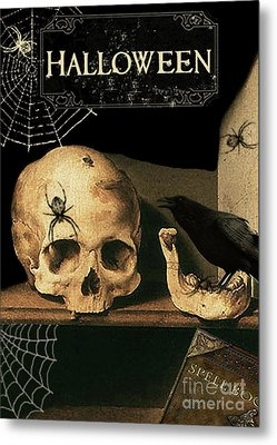 Vanitas Skull And Raven Metal Print by Striped Stockings Studio