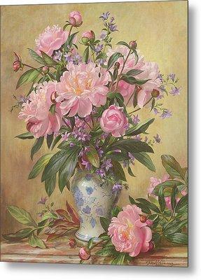 Vase Of Peonies And Canterbury Bells Metal Print by Albert Williams