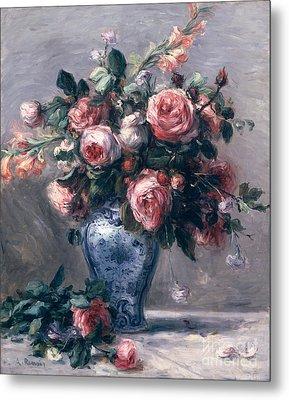 Vase Of Roses Metal Print by Pierre Auguste Renoir