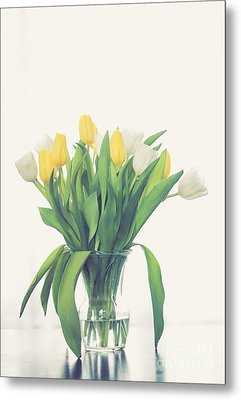 Vase Of Tulips Metal Print by Cheryl Baxter