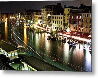Venice Canal At Night Metal Print by Patrick English