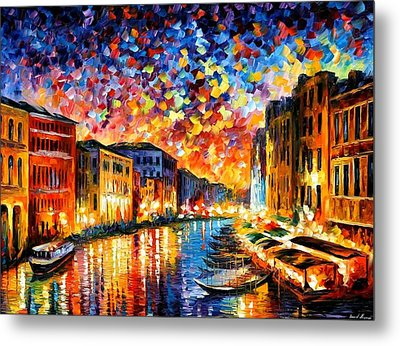 Venice - Grand Canal Metal Print by Leonid Afremov