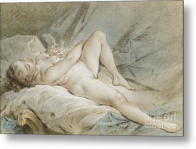 Venus Playing With Two Doves Metal Print by Francois Boucher