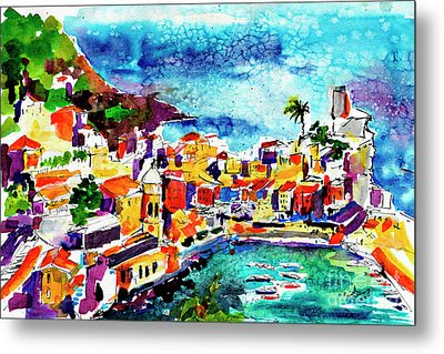 Vernazza Cinque Terre Italy Metal Print by Ginette Callaway