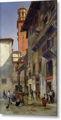 Via Mazzanti In Verona Metal Print by Jacques Carabain