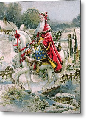 Victorian Christmas Card Depicting Saint Nicholas Metal Print by English School