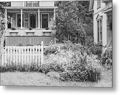 Victorian Style Cottage Northport Maine Black And White Photo Metal Print by Keith Webber Jr