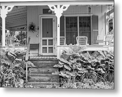Victorian Style Cottage Northport Maine Black And White Photograph Metal Print by Keith Webber Jr