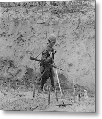 Vietnam War. Us Marine Walks Metal Print by Everett