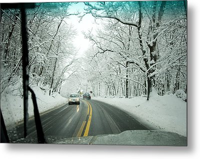 View From Inside A Car, Driving Metal Print by Tim Laman