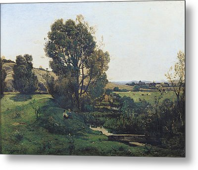 View From Moncel-sur-seine Metal Print by Henri-Joseph Harpignies