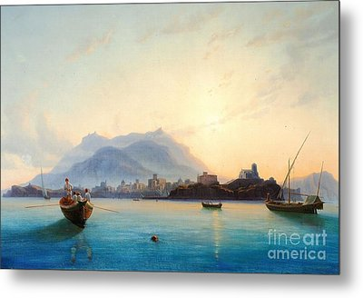 View Of Italy With Fishermen In Their Boats  Metal Print by Celestial Images