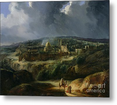 View Of Jerusalem From The Valley Of Jehoshaphat Metal Print by Auguste Forbin