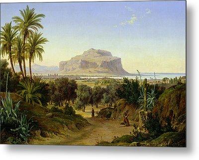 View Of Palermo With Mount Pellegrino Metal Print by August Wilhelm Julius Ahlborn