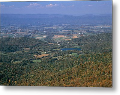 View Of Shenandoah Valley And The Town Metal Print by Raymond Gehman