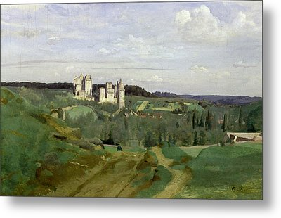 View Of The Chateau De Pierrefonds Metal Print by Jean Baptiste Camille Corot
