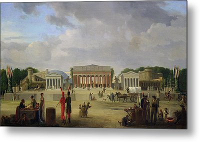View Of The Grand Theatre Constructed In The Place De La Concorde For The Fete De La Paix Metal Print by Jean Baptiste Louis Cazin