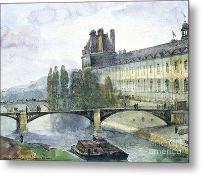 View Of The Pavillon De Flore Of The Louvre Metal Print by Francois-Marius Granet