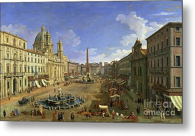 View Of The Piazza Navona Metal Print by Canaletto