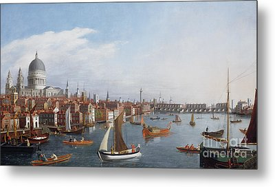 View Of The River Thames With St Paul's And Old London Bridge   Metal Print by William James