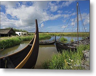 Viking Boats Metal Print by Robert Lacy