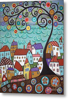 Village By The Sea Metal Print by Karla Gerard