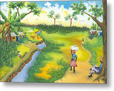 Village Scene Metal Print by Herold Alveras