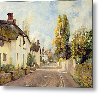 Village Street Scene Metal Print by Charles James Fox