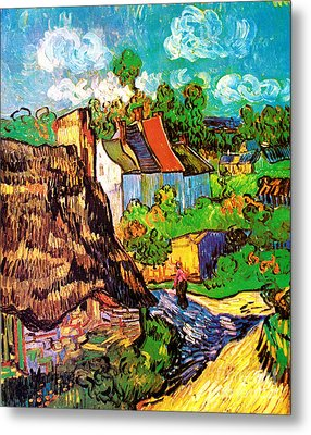 Vincent Van Gogh Houses At Auvers  Metal Print by Pg Reproductions