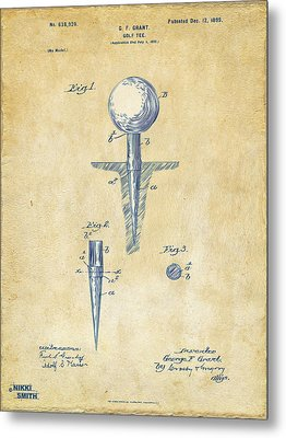 Vintage 1899 Golf Tee Patent Artwork Metal Print by Nikki Marie Smith