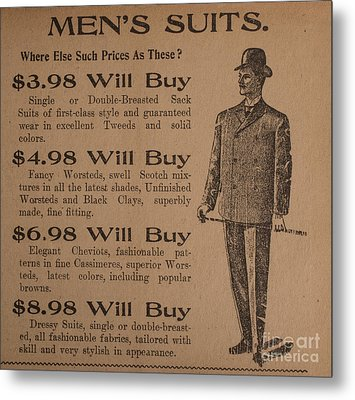 Vintage Ad For Men's Suits Metal Print by Edward Fielding