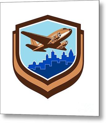 Vintage Airplane Take Off Cityscape Shield Retro Metal Print by Aloysius Patrimonio