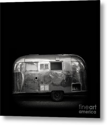 Vintage Airstream Travel Camper Trailer Square Metal Print by Edward Fielding