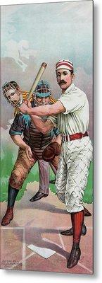 Vintage Baseball Card Metal Print by American School