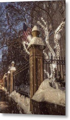 Vintage Boston Sidewalk In Winter Metal Print by Joann Vitali
