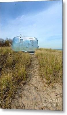 Vintage Camping Trailer Near The Sea Metal Print by Jill Battaglia