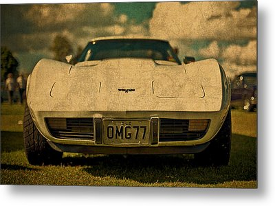 Vintage Chevy Corvette Front View License Plate Metal Print by Design Turnpike