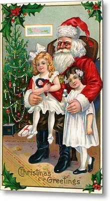Vintage Christmas Card Depicting Two Victorian Girls With Santa Claus Metal Print by American School