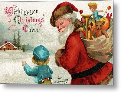 Vintage Christmas Card Metal Print by Ellen Hattie Clapsaddle