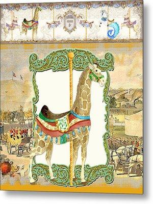 Vintage Circus Carousel - Giraffe Metal Print by Audrey Jeanne Roberts