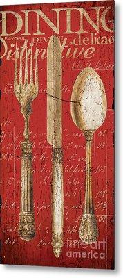 Vintage Dining Utensils In Red Metal Print by Grace Pullen