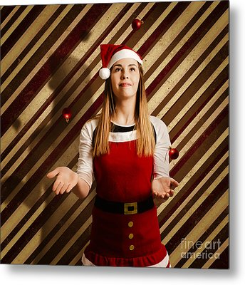 Vintage Female Elf Juggling Christmas Decorations Metal Print by Jorgo Photography - Wall Art Gallery