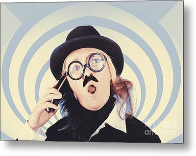 Vintage Futurist Using Phone On Time Warp Backdrop Metal Print by Jorgo Photography - Wall Art Gallery