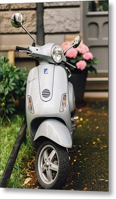 Vintage Grey Vespa,old Fashioned Italian Motorbike, Is Parked On The Street Sideway Metal Print by Aldona Pivoriene