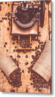 Vintage Grinder With Sacks Of Coffee Beans Metal Print by Jorgo Photography - Wall Art Gallery