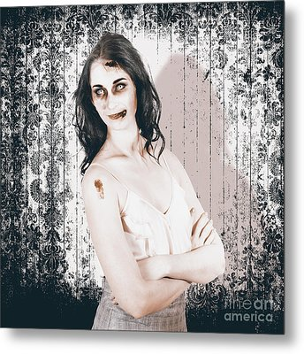 Vintage Halloween Spook On Grunge Background Metal Print by Jorgo Photography - Wall Art Gallery