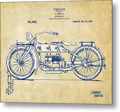 Vintage Harley-davidson Motorcycle 1919 Patent Artwork Metal Print by Nikki Smith