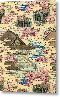 Vintage Japanese Illustration Of An Abstract Landscape With Stylized Houses Metal Print by Japanese School