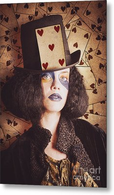 Vintage Jester Woman Wearing The Card Of Hearts Metal Print by Jorgo Photography - Wall Art Gallery