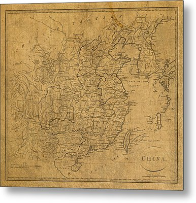 Vintage Map Of China 1799 Metal Print by Design Turnpike